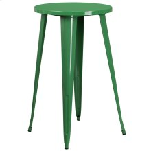 24'' Round Green Metal Indoor-Outdoor Bar Height Table