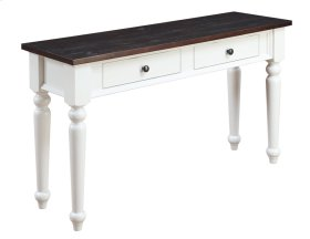 2 Drawer Sofa Table-antique White Base W/brn Rustic Plank Top Rta