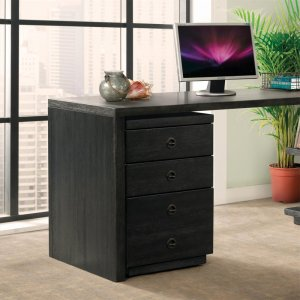 RiversidePerspectives - Mobile File Cabinet - Ebonized Acacia Finish