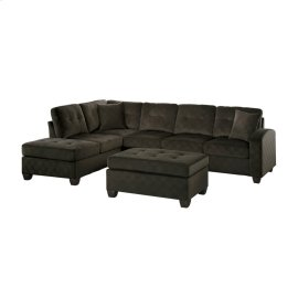 3-Piece Reversible Sectional with Ottoman