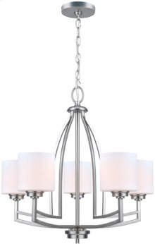 5-lite Chandelier Lamp, Ps/frost Glass Shade, E27 A 60wx5