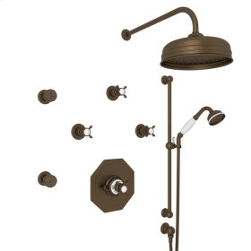 English Bronze Perrin & Rowe Edwardian Thermostatic Shower Package with Cross Handle