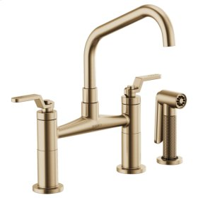 Bridge Faucet With Angled Spout and Industrial Handle