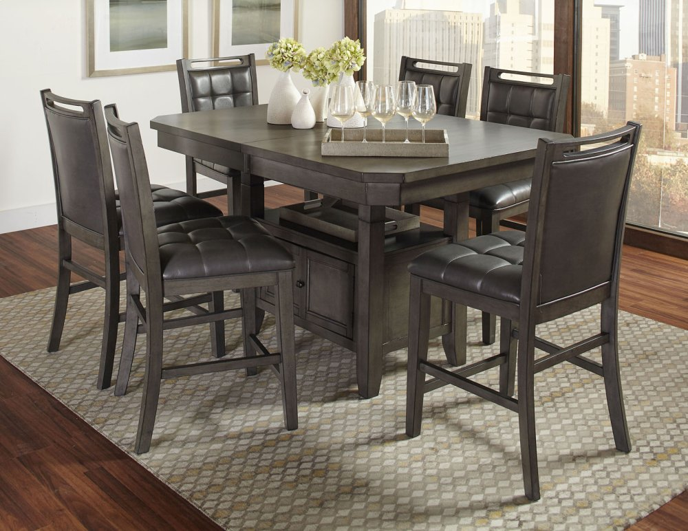 5pc187254squarecounterheightjofran Manchester High Low Square Dining Table With Four Chairs Grey Westco Home Furnishings