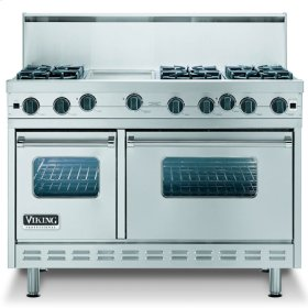 """Metallic Silver 48"""" Sealed Burner Range - VGIC (48"""" wide range with four burners, 12"""" wide griddle/simmer plate and 12"""" wide char-grill, double ovens)"""
