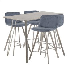 Sedona 5-piece Counter Set - Brushed Antique Metal, Dark Brown Wood, Blue Fabric