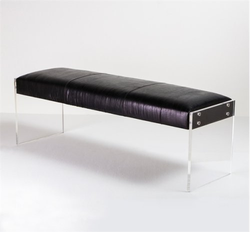 Aiden Leather Bench - Black