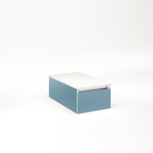 """Cartesian 12-1/8"""" X 7-1/2"""" X 21-3/4"""" Slim Drawer Vanity In Ocean With Slow-close Full Drawer and No Night Light"""
