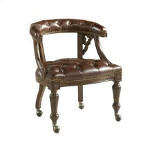 CARVED GAME CHAIR WITH LEATHER UPHOSTERY