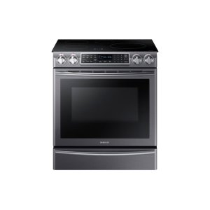 Samsung5.8 cu. ft. Slide-In Induction Range with Virtual Flame in Black Stainless Steel