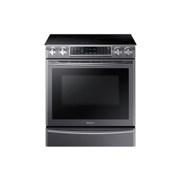 Samsung Appliances 5.8 cu. ft. Slide-In Induction Range with Virtual Flame™ in Black Stainless Steel