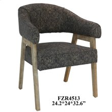 Corbin Distressed Wood and Pattern Upholstered Accent Chair
