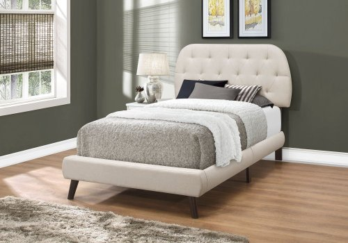 BED - TWIN SIZE / BEIGE LINEN WITH BROWN WOOD LEGS