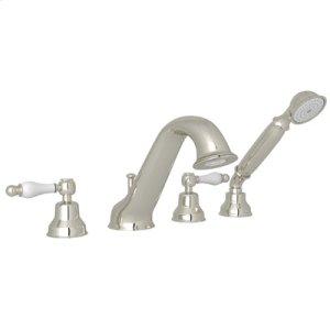 Polished Nickel 4-Hole Deck Mounted Bathtub Filler With Handshower with Arcana Ornate Porcelain Handle