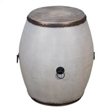 Drum End Table, Grey