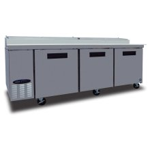 Refrigerator, Pizza Prep Table, Stainless Door, Three Section