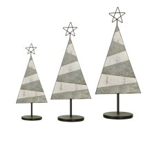 Distressed White & Galvanized Tree with Star on Stand. (3 pc. set)