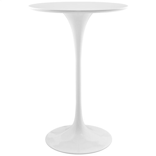 """Lippa 28"""" Round Wood Bar Table in White"""