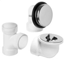 PVC Plumber's Half Kit with Deluxe Disc Trim (Designer Face Plate) - Brushed Nickel