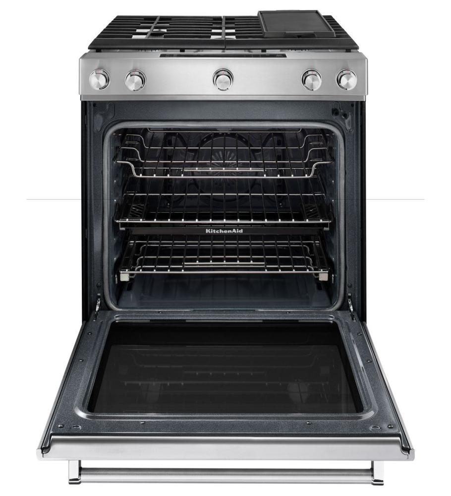 Hidden · Additional 30 Inch 5 Burner Gas Convection Slide In Range With  Baking Drawer