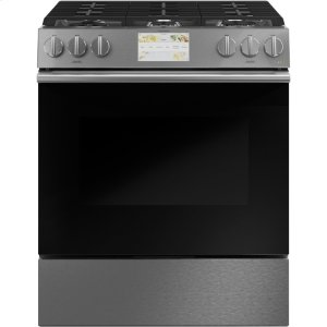 "Cafe Appliances30"" Smart Slide-In, Front-Control, Dual-Fuel Range in Platinum Glass"