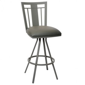 """Cleo 26"""" Transitional Barstool In Gray and Gray Metal"""