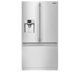 Frigidaire Professional 4pc. Stainless Steel kitchen package with 22.6 cu.ft. counter depth dispensing French door fridge and front control convection gas range