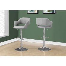 BARSTOOL - GREY FABRIC / CHROME METAL HYDRAULIC LIFT