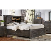 QUEEN BED WITH STORAGE HEADBOARD AND FOOTBOARD