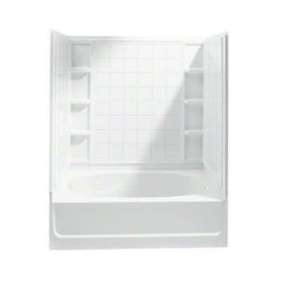 "Ensemble™, Series 7110, 60"" x 36"" x 72"" Tile Bath/Shower with Age in Place Backers - Right-hand Drain - White"