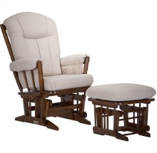 This wood glider features elegant spindle armrests and base with wooden dowels.