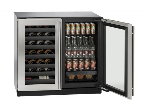 "36"" Beverage Center Stainless Frame Double Doors"