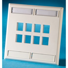 Dual gang plastic faceplate, holds twelve Keystone jacks or modules, Cloud White
