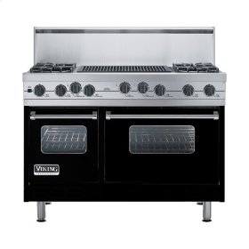"Black 48"" Sealed Burner Self-Cleaning Range - VGSC (48"" wide, four burners & 24"" wide char-grill)"