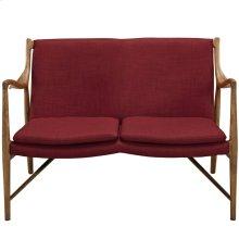 Makeshift Upholstered Fabric Loveseat in Maple Red