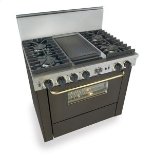 """Five Star36"""" Dual Fuel, Convect, Self-Clean, Sealed Burners, Black with Brass"""