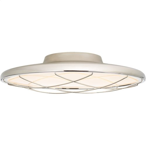 Visual Comfort PB4004PN Peter Bristol Dot LED 17 inch Polished Nickel Flush Mount Ceiling Light, Caged