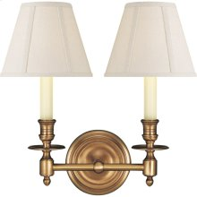 Visual Comfort S2112HAB-L Studio French Library 2 Light 13 inch Hand-Rubbed Antique Brass Decorative Wall Light in Linen