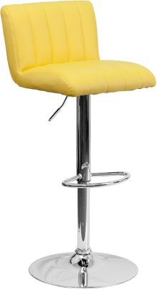 Contemporary Yellow Vinyl Adjustable Height Barstool with Vertical Stitch Back\/Seat and Chrome Base