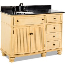 """48-1/2"""" vanity with antique crackled Buttercream finish, simple bead board doors, and curved shape with preassembled top and bowl."""