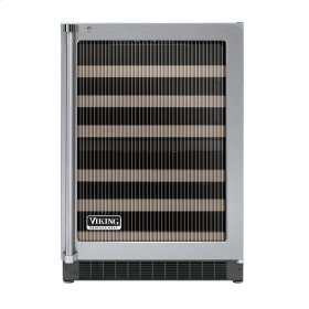 """Stainless Steel 24"""" Glass Door Dual Zone Wine Cellars - VUWC (Right Hinge Fluted Glass)"""