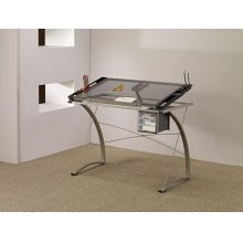 Contemporary Glass Top Drafting Desk