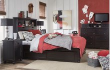 Crossroads Complete Upholstered Bookcase Bed, Twin 3/3