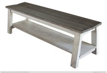 Breakfast Bench w/shelf, Solid Wood - Brown & White Finish