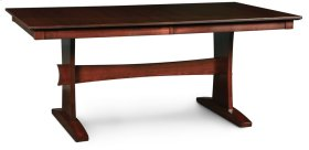 """Loft Trestle II Table, Loft Trestle II Table, 42""""x84"""", 1-18"""" Stationary Butterfly Leaf on Each End"""