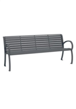 District 6' Bench with Back and Arms, Slat