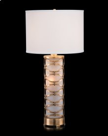 Illuminated Glass and Metal Table Lamp