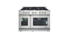 """Renaissance 48"""" Self-Cleaning Gas Range with Pro Style Handle, Freestanding, in Stainless Steel, includes 3"""" Backguard, Natural Gas"""