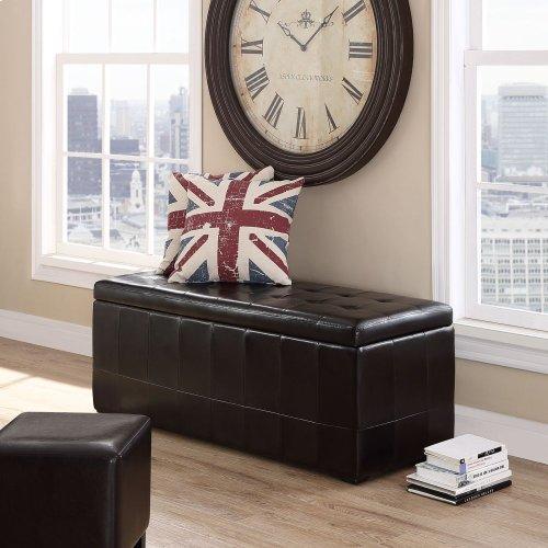 Abide Upholstered Vinyl Ottoman in Brown