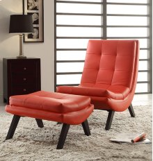 Tustin Lounge Chair and Ottoman Set With Red Fuax Leather Fabric & Black Legs